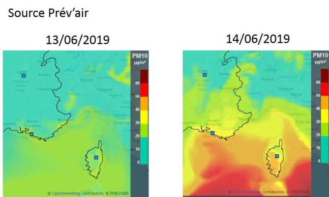 Evolution au 13 juin de l'épisode de pollution atmosphérique